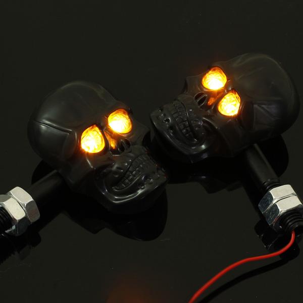 Motorcycle Skeleton Head Skull Turn Signal Light Indicator 12V 0.5W