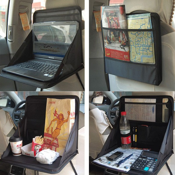 Car Laptop Holder Tray Bag Mount Back Seat Food Table Desk