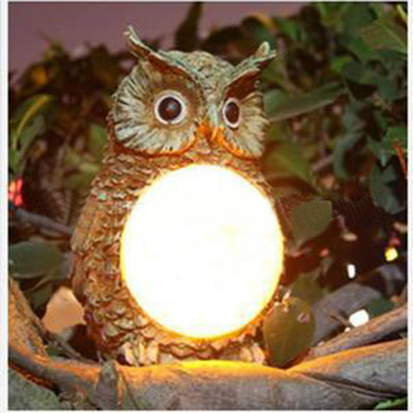 solar powered owl led light outdoor garden decor statue