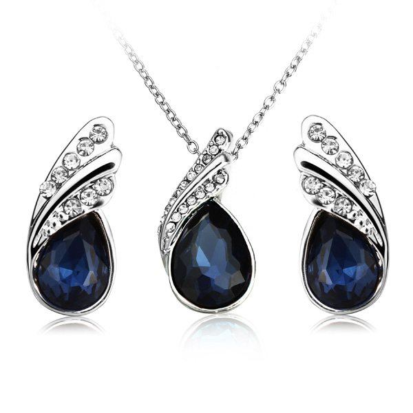 Crystal Water Drop Necklace Earrings Jewelry Set Silver Plated Jewelry