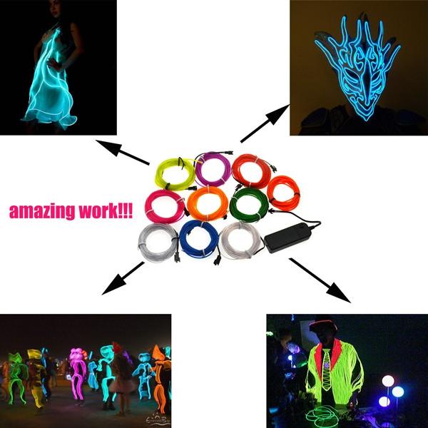 1M 10 Colors 12V Flexible Neon EL Wire Light Dance Party Decor Light ...