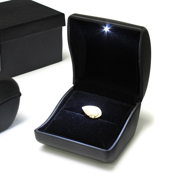 Luxury Black PU Leather LED Lighted Ring Box Jewelry Wedding Gift