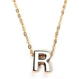 Gold Plated Letter Alphabet Name Pendant Chain Necklace Unisex Jewelry