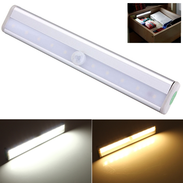 10 LED PIR Motion Sensor Light For Cabinet Wardrobe