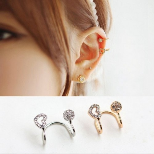1pc Crystal Hollow Heart Round Earring Clip Ear Cuff For Women