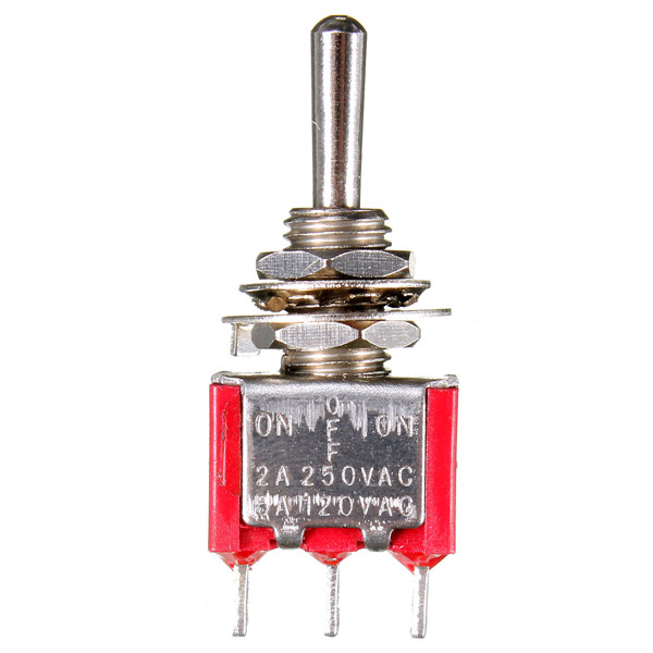 Red 3 Pin ON-OFF-ON 3 SPDT Small Toggle Switch AC 6A/125V 3A/250V