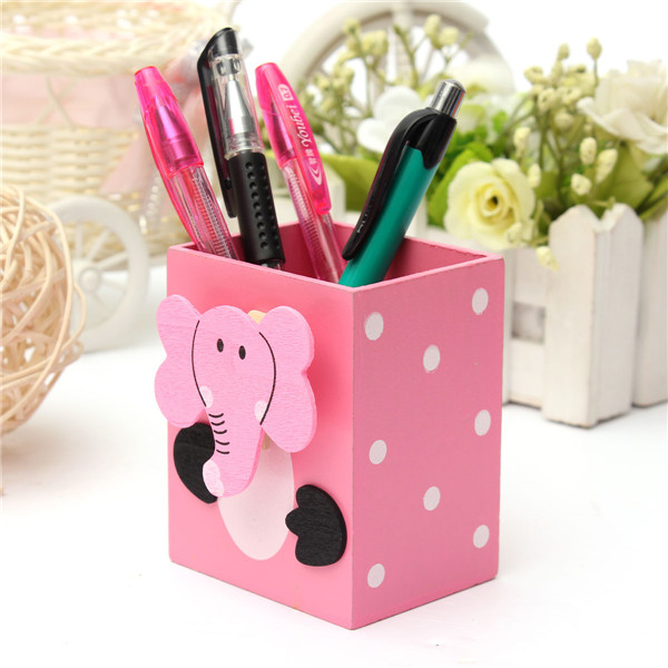 Cute animal pattern rectangle pen holder container desk - Cute desk organizer ...