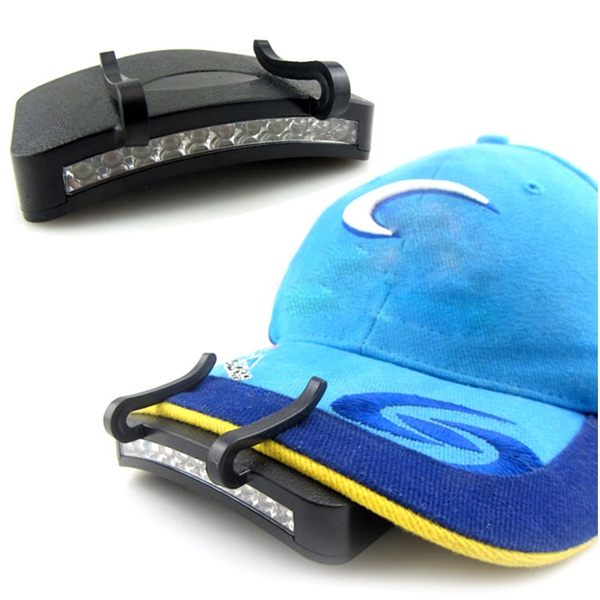 LN/_ Bright 11LED Clip On Cap Light Hard Hat Torch Fishing Sports Camping Cycle