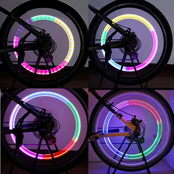 Bike Bicycle Wheel Tyre Spoke Valve Light Valve LED Light Lamp