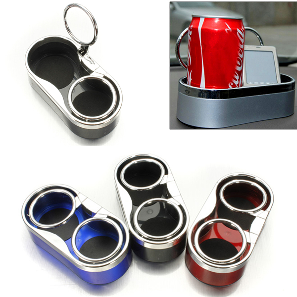 Auto Car Truck Adhesive Mount Dual Cup Holder Drink Bottle Holder Stand Plastic