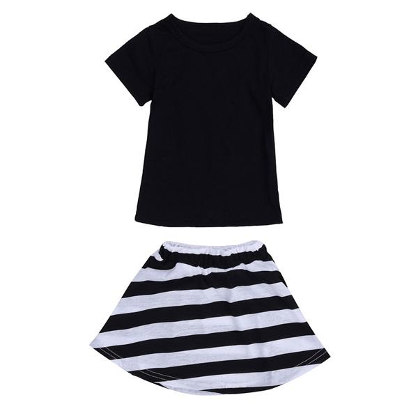 ee145e574fcf 2015 Toddlers Kids Baby Girls Short Sleeve T-shirt Top Black White Stripe  Skirt Dress · 1. ...