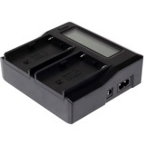 Dual Channel LCD Display Digital Battery Charger for Sony BP-U30 / U60 / U90 Battery, Compatible with Sony EX260 / EX280 / FS7