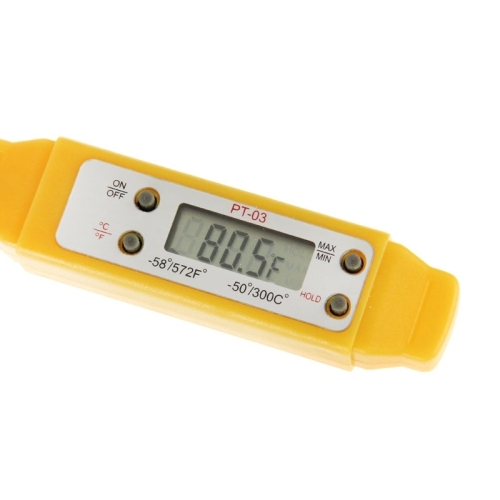 LCD Digital Food Thermometer, Temperature Ranger: -50 to 300 Degree Celsius (Yellow)