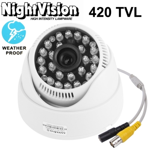 1 / 3 inch SONY 420TVL 3.6mm Fixed Lens IR & Waterproof Color Dome CCD Video Camera, IR Distance: 30m