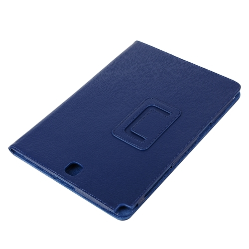 Litchi Texture Horizontal Flip Solid Color Leather Case with Two-Folding Holder for Samsung Galaxy Tab A 9.7 / T550 (Dark Blue)