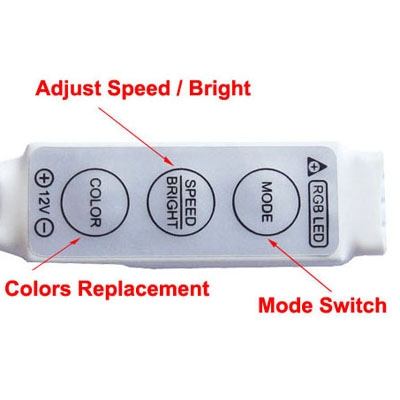 3 Keys Mini Controller Dimmer for 3528 / 5050 SMD RGB LED Strip Light with DC Connector, DC 12V