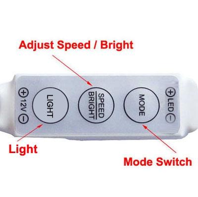3 Keys Mini Controller Dimmer for 3528 / 5050 SMD Single Color LED Strip Light with DC Connector, DC 12V