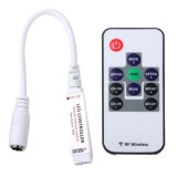 3 Keys Mini Controller Dimmer for 3528 / 5050 SMD RGB LED Strip Light with DC Connector & RF Remote Control, DC 12V