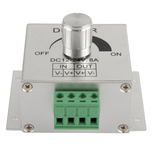 Aluminum Single Color Dimmer Switch LED Dimmer Controller for Strip Light DC12-24V, Output Current: 8A  (Silver)