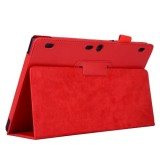 Litchi Texture Horizontal Flip Solid Color Leather Case with Two-Folding Holder for Lenovo Tab2 A10-70 (Red)