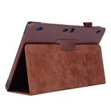 Litchi Texture Horizontal Flip Solid Color Leather Case with Two-Folding Holder for Lenovo Tab2 A10-70 (Brown)