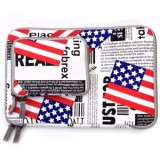 POFOKO US Flag Pattern 13.3 inch Fashion Zipper Linen Waterproof Sleeve Case Bag for Laptop Notebook, with A Small Bag for Mouse