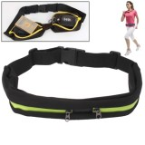 Sports Waterproof Elastic Waist Bag Two Pockets Fanny Pack Zip Pouch  (Fluorescent Green)