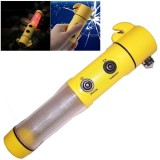 4 in 1 Multi Function Flashlight Alarm Emergency Hammer LED Flash Light For Auto-used (Yellow)