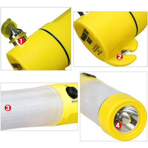 4 in 1 Multi Function Flashlight Alarm Emergency Hammer LED Flash Light For Auto-used (Yellow)