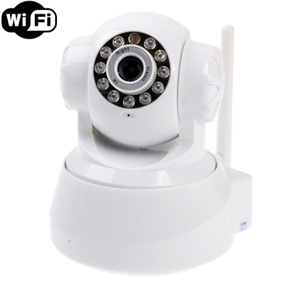 Wireless Infrared IP Camera with WiFi, 0.3 Mega Pixels, Motion Detection and Night Vision / Infrared Alarm Input Function