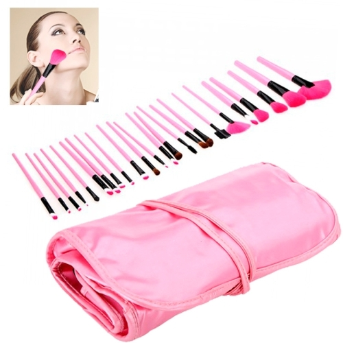 24pcs Goat Hair Pink Handle Makeup Brush Set With Pink