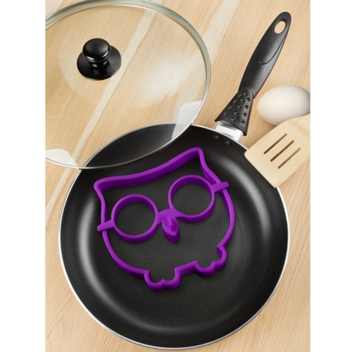 Cartoon Owl Shape Egg Frying Ring Mold Silicone Egg Fried Mould Omelette Mold (Purple)