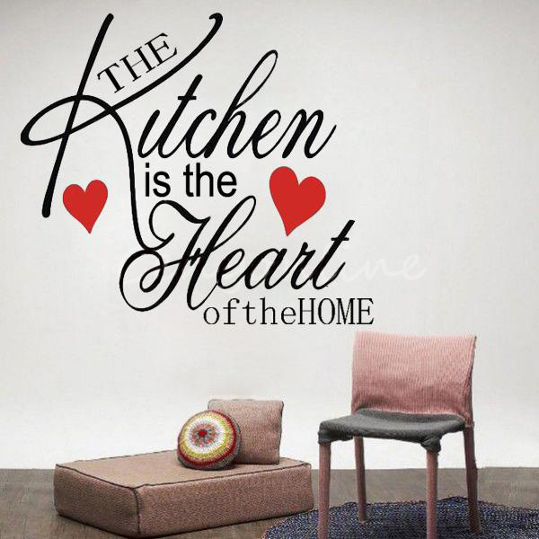 Large decor removable kitchen heart home wall sticker for Large kitchen wall decor
