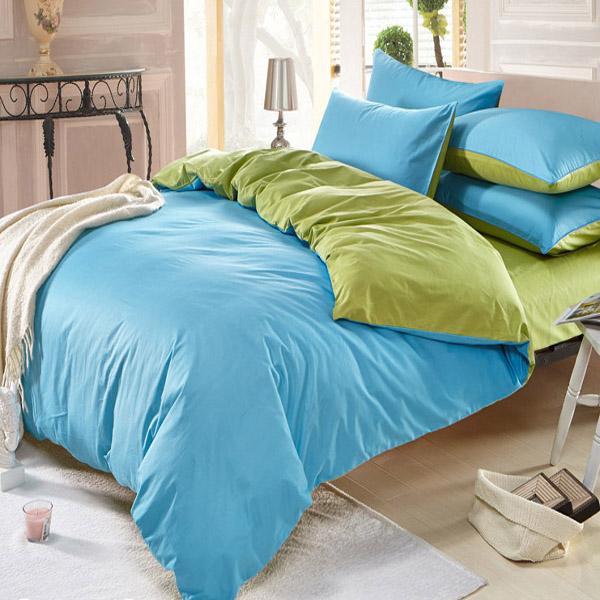3 4pcs Pure Cotton Sky Blue Green Color Orted Bedding Sets Plain Duvet Cover