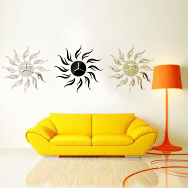 3D DIY Sunflower Shape Mirror Wall Clock Livingroom Wall Stickers ...