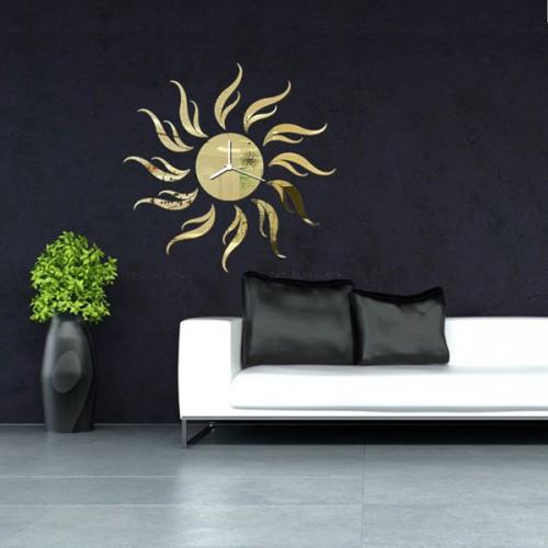 3d diy sunflower shape mirror wall clock livingroom wall for 3d acrylic mirror wall sticker clock decoration decor
