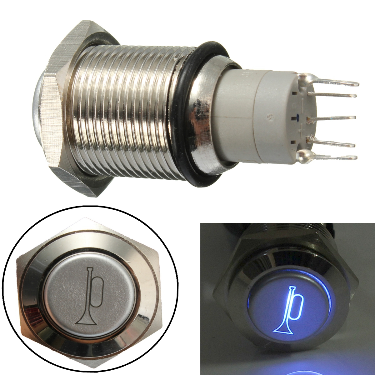 12v 16mm Waterproof Momentary Horn Metal Push Button Switch Blue Led Pushbuttons And Latching On Off In White Lighted
