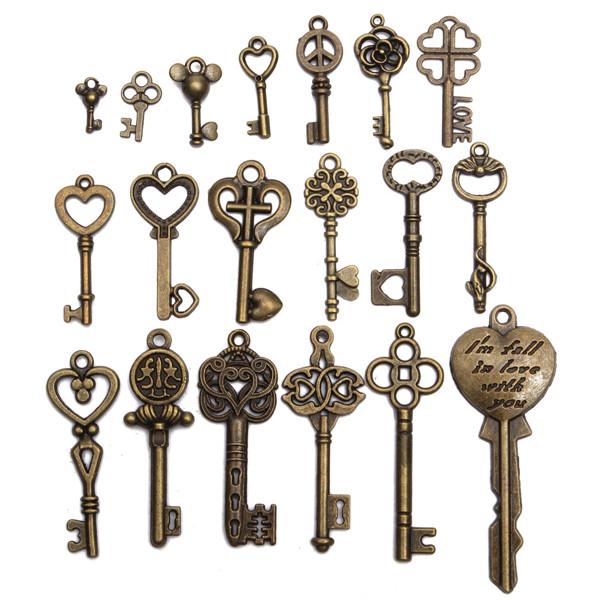 19pcs antique vintage old look skeleton key set lot for Antique looking keys