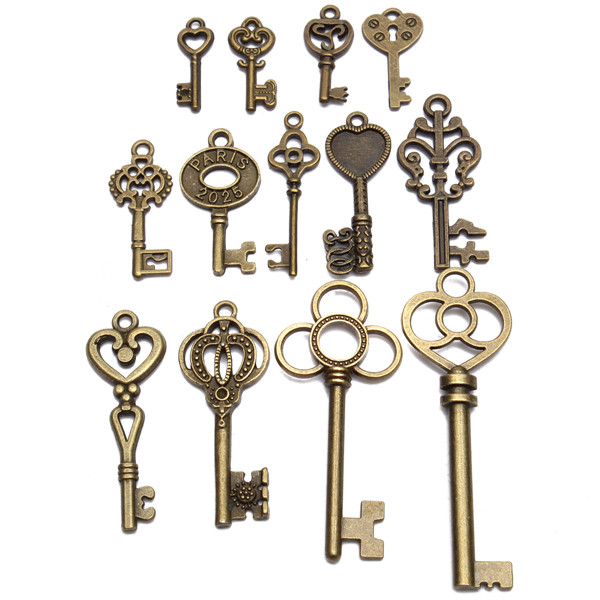 13pcs antique vintage old look skeleton key lot set for Lock and key decor