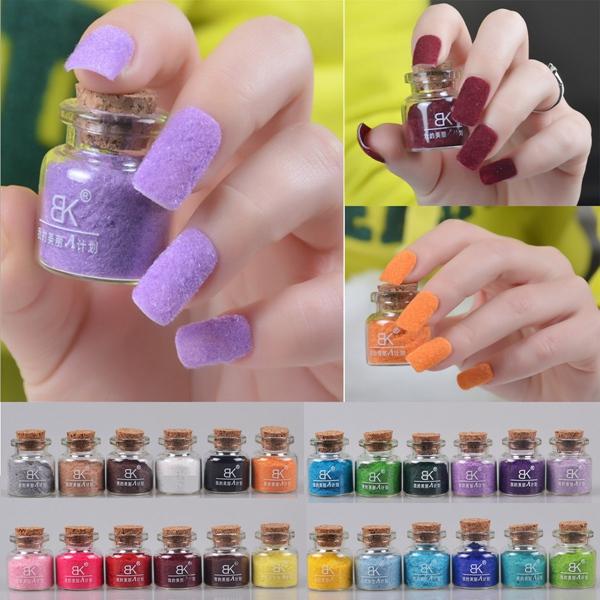 24 Colors Velvet Flocking Nail Art Powder Dust Decoration Glass Pot ...