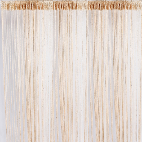 3Pcs String Curtains With Bead Sequin Spangle Fringe Panels Door Divider Champagne