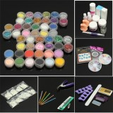48 Pro Acrylic Glitter Powder Nail Art Gel Brush Tips Kit Set