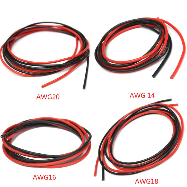 2M AWG Soft Silicone Flexible Wire Cable 12 20 AWG 1 Meter Red 1