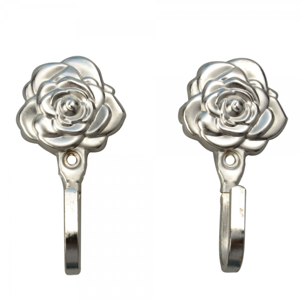 One Pair Rose Pattern Metal Curtain Hooks Wall Decorative