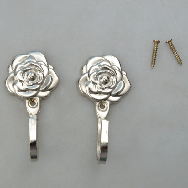 One Pair Rose Pattern Metal Curtain Hooks Wall Decorative ...
