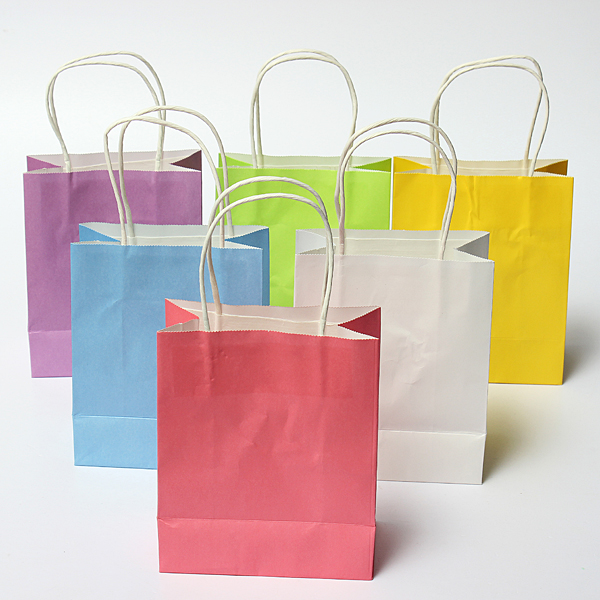 Colorful Kraft Paper Gift Bag Wedding Party Handle Bags