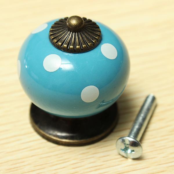 Vintage Dot Round Ceramics Drawer Knob Cabinet Pull Handle Cupboard Door Handle