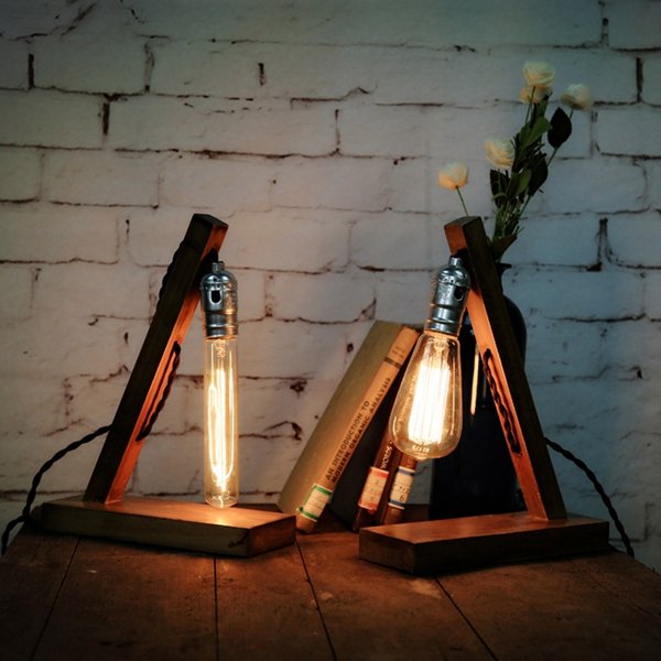 Loft Retro Wood E27 Edison Table Lamp Cafe Home Bar Decoration Alex Nld