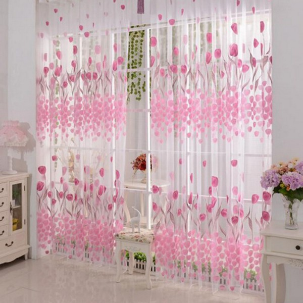 100x200cm Soft Tulle Tulip Flower Window Screen Home Sheer Window ...