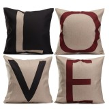 Linen Cotton Love Letter Throw Pillow Case Cushion Cover Sofa Decor